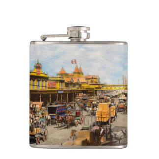 City - NY - A hundred some years ago 1900 Hip Flask