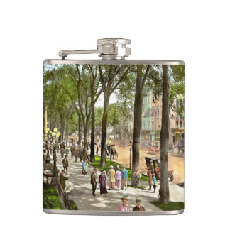 City - NY -  I would love to be on Broadway 1915 Hip Flask