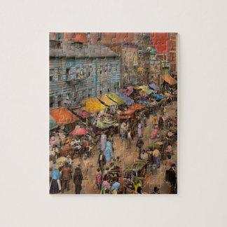 City - NY - Jewish market on the East Side 1890 Puzzle