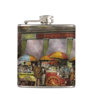City - NY- Lunch carts on Broadway St NY - 1906 Hip Flask