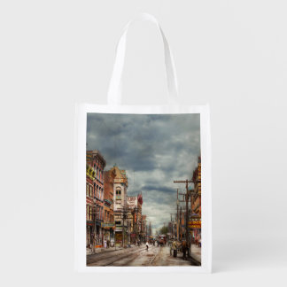 City - NY - The ever changing market place 1906 Reusable Grocery Bag
