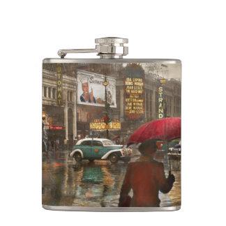 City - NY - Times Square on a rainy day 1943 Hip Flask