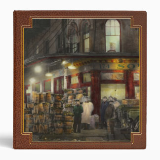 City - NY - Washington St Market, buying at night Vinyl Binders
