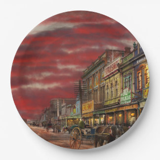 City - NZ - The shopping district 1908 9 Inch Paper Plate
