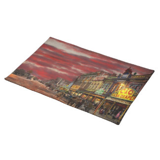 City - NZ - The shopping district 1908 Placemat