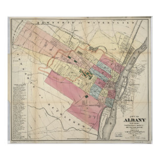 City of Albany New York Map (1874) Poster