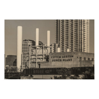 City of Austin Power Plant Wood Prints