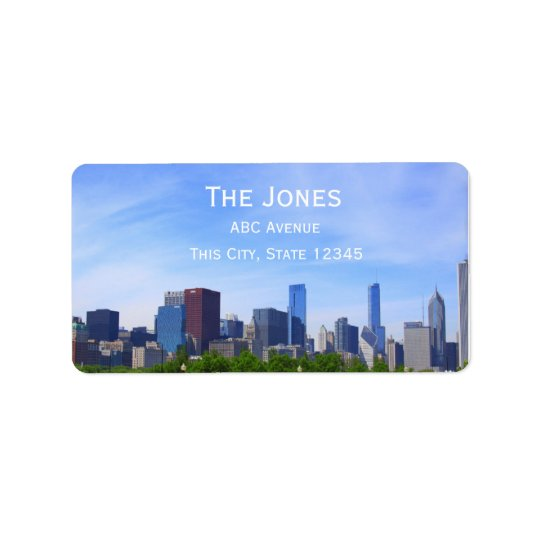 City Of Chicago address/customizable Label