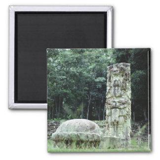 City of Copan Mayan Ruins Photo Designed Square Magnet