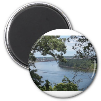 City of Dubuque, Iowa on the Mississippi River 2 Inch Round Magnet