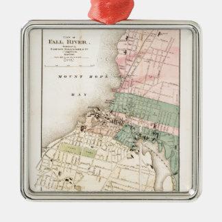 City of Fall River, Massachusetts Map (1874) Metal Ornament