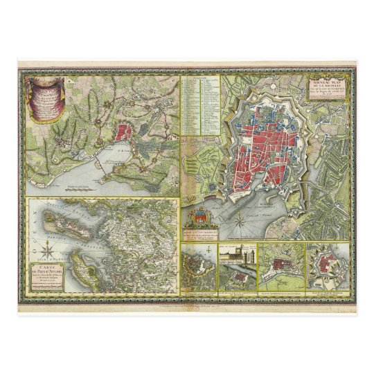 City of La Rochelle Map Siege in 1627-28 and 1773 Postcard
