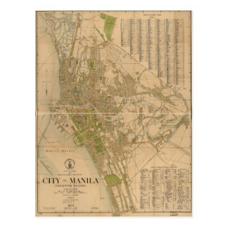 City of Manila Philippine Islands Map (1920) Postcard