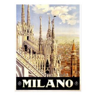 City of Milan Italian Travel Poster 1920 Postcard
