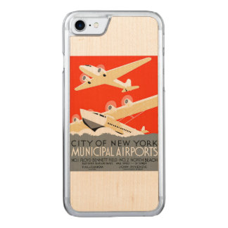 City of New York Municipal Airports Vintage Poster Carved iPhone 8/7 Case