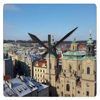 City of Prague and the Baroque Church St. Nicholas Square Wall Clock