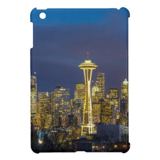 City of Seattle during Evening Blue Hour Panorama Case For The iPad Mini
