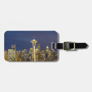 City of Seattle during Evening Blue Hour Panorama Luggage Tag