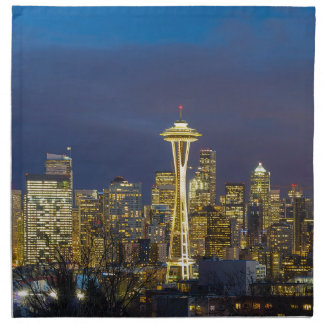 City of Seattle during Evening Blue Hour Panorama Napkin