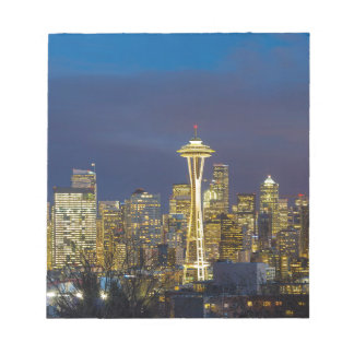 City of Seattle during Evening Blue Hour Panorama Notepad
