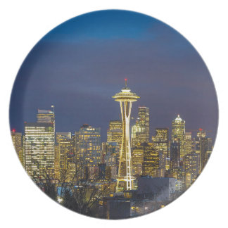 City of Seattle during Evening Blue Hour Panorama Plate