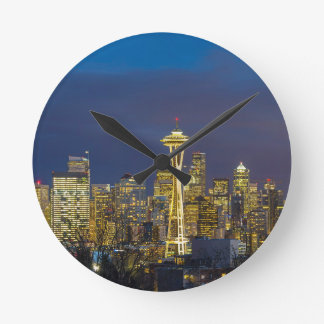 City of Seattle during Evening Blue Hour Panorama Round Clock