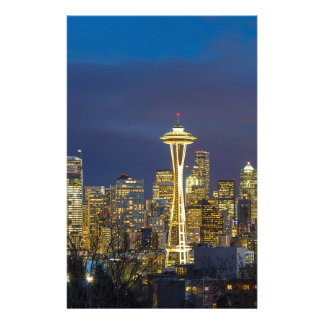 City of Seattle during Evening Blue Hour Panorama Stationery