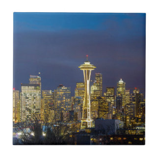 City of Seattle during Evening Blue Hour Panorama Tile