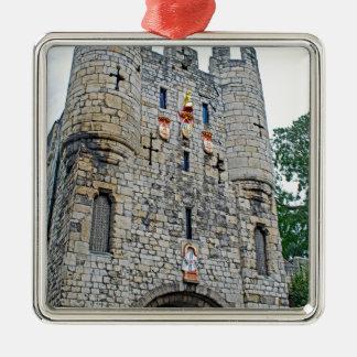 City of York Micklegate Bar Silver-Colored Square Ornament