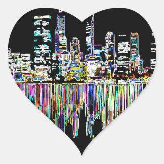 City panorama heart sticker