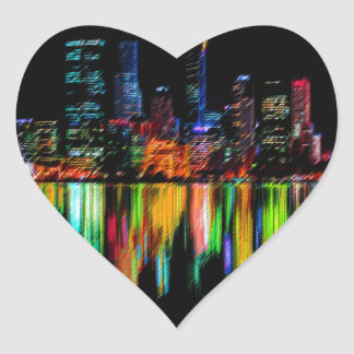 City panorama heart sticker