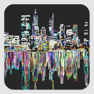 City panorama square sticker