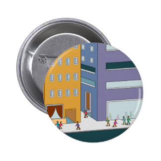 City People Walking Cartoon 2 Inch Round Button
