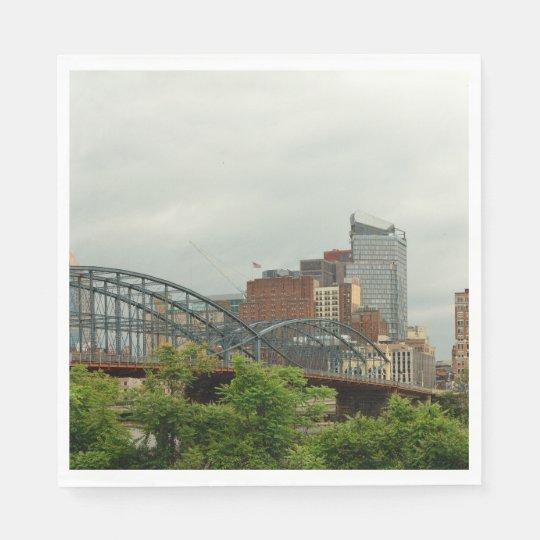 City - Pittsburg PA - The grand city of Pittsburg Paper Napkin