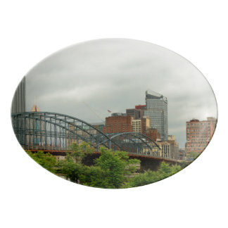 City - Pittsburg PA - The grand city of Pittsburg Porcelain Serving Platter