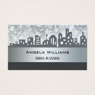 City Planning Skyline Silver Grey Business Card
