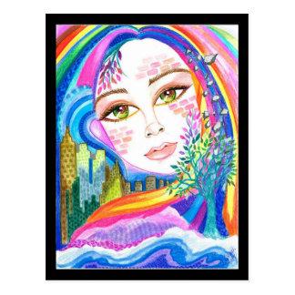 City Rainbow Rhapsody Fantasy Art Postcard