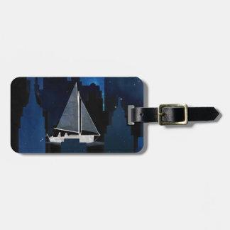 City Sailing at Night Bag Tag