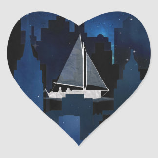 City Sailing at Night Heart Sticker