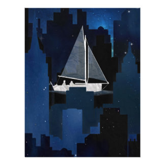 City Sailing at Night Letterhead