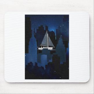 City Sailing at Night Mouse Pad