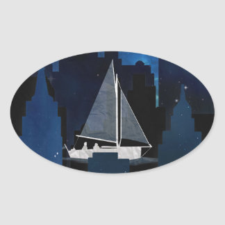City Sailing at Night Oval Sticker