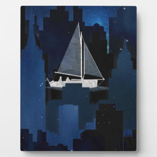 City Sailing at Night Plaque