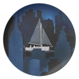 City Sailing at Night Plate