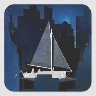 City Sailing at Night Square Sticker