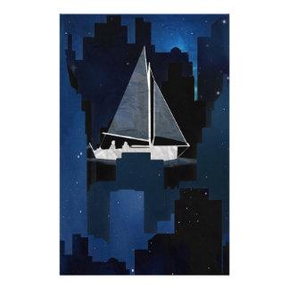 City Sailing at Night Stationery