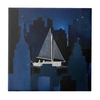 City Sailing at Night Tile
