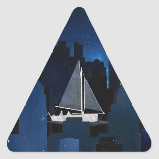 City Sailing at Night Triangle Sticker