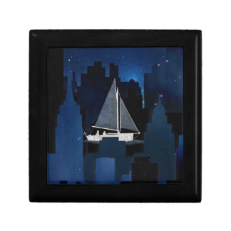 City Sailing at Night Trinket Box
