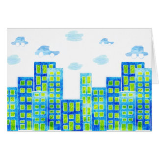 City scape / cars in the clouds  BLANK CARD